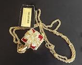 Swarovski Vintage Necklace Locket Gift Box Conversations Swarovski Crystal Rhinestones Signed Swan