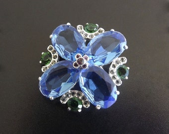 Vintage Brooch Blue Emerald Green Rhinestones Signed Monet Wedding Bride Bridal