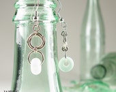 Chandelier Earrings Recycled Glass Faux Seaglass Etched Bead Floret Drop Topo Chico