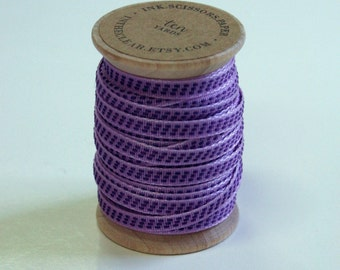 Purple and Lavender Stitched Woven Ribbon - 10 Yards on Wooden Spool - 5mm 3/16 Inch Width
