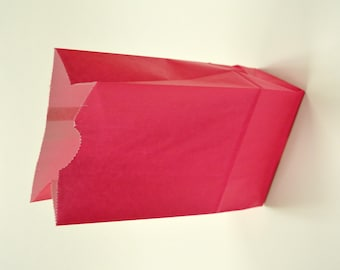 Set of 25 - Solid Hot Pink Flat Bottom Paper Merchandise or Lunch Bags - 4.25 x 2.375 x 8.18 Inches - Gifts, Packaging, Retail