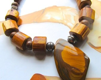 Royal Sahara Jasper Necklace with Sterling and Juniper Wood - Earthy Pendant Necklace