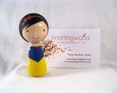 Simply Snow White Wood Peg Kokeshi Doll Holiday Ornament