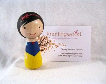 Simply Snow White Wood Peg Kokeshi Doll Holiday Ornament