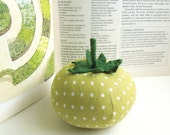 Light Green Polka Dot Tomato Pincushion