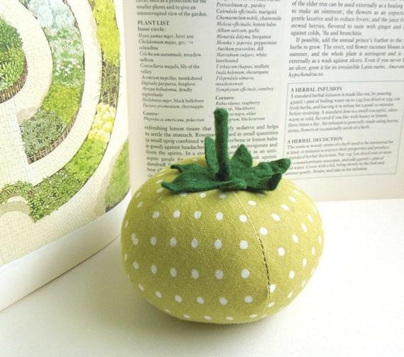 Light Green Polka Dot Tomato Pincushion