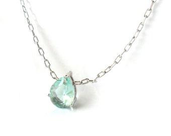 Something Blue Aquamarine March birthstone Silver Framed Erinite Teardrop Glass Stone  Bridal  simple jewelry Solitare