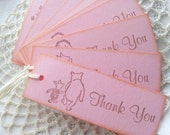 Winnie the Pooh Pink Tags Birthday or Baby Shower Set of 10