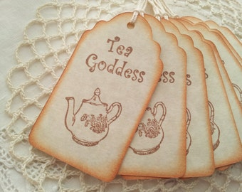Tea Goddess Teapot Tags Vintage Inspired Tea Party Decor Set of 6