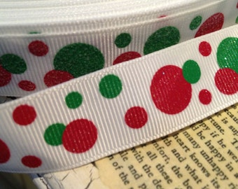"3 yards 7/8"" Preppy Red And Green Glitter Polka Dots grosgrain ribbon"
