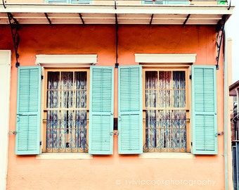 "New Orleans Photograph, ""Aqua shutters"" Travel Photography, Colorful Pastel Houses, French Quarter"