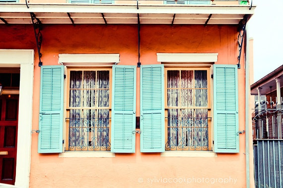 Items Similar To New Orleans Photograph Aqua Shutters Travel Photography Colorful Pastel