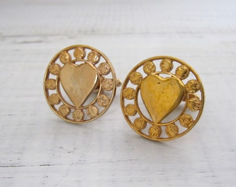 Vintage Heart Zodiac Cufflinks, 12 Signs of the Zodiac Symbols Surrounding Heart