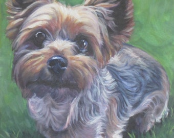 Yorkshire Terrier yorkie art CANVAS print of LA Shepard painting 8x10 dog art