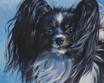 Papillon portrait dog art CANVAS print of LA Shepard painting 12x12