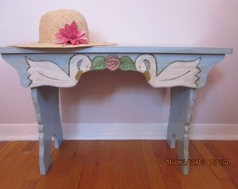 Swans and Roses Pine Bench