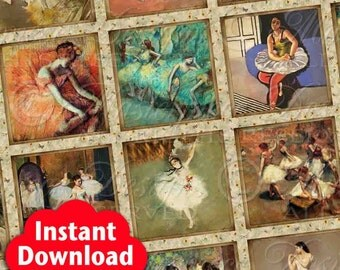 Ballerina Masterpiece Printable Squares / Ballet / Dance / Dancer - INSTANT DOWNLOAD 1x1 Inch Square Tiles Digital JPG Collage Sheet