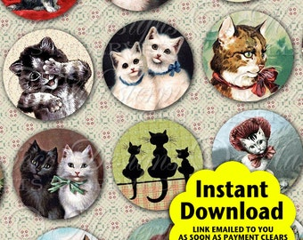 Here Kitty Kitty Printable Craft Circles / Cat / Kitten / Feline Cats - Printable INSTANT DOWNLOAD 1 Inch Round Designs JPG Collage Sheet