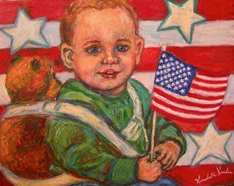 Liberty Art 10x8 Impressionist oil painting of child with flag by Award Winning Artist Kendall Kessler