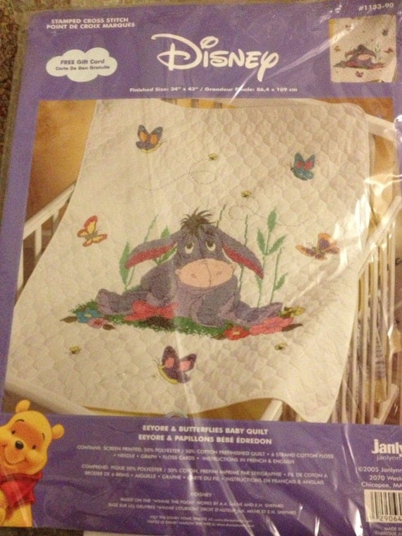 Eeyore And Butterflies Stamped Cross Stitch Baby Quilt