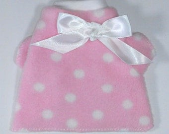 Pink Dots Fleece Dog Shirt Clothes Size XXXS through MEDIUM