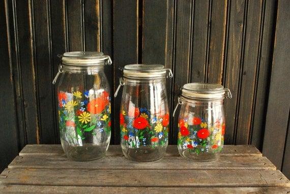 Vintage Arc France Glass Jars Canisters Set Of 3 Mason