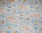 OOP Out of Print Baum Textiles Vintage Retro Baby Bluebird Clouds Angel Fabric 1 yard Nursery Juvenile