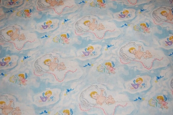 Oop out of print baum textiles vintage retro baby bluebird for Retro baby fabric