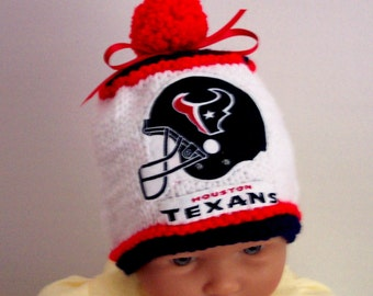Hand made knit NFL Houston TEXANS baby hat 0-12M- cute gift photo prop