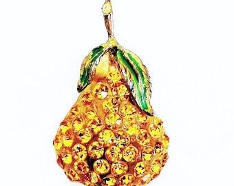 Austria Forbidden Fruit Golden Pear Brooch c.1950