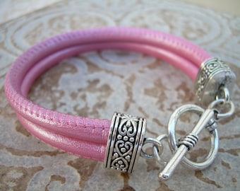 Pink Leather Bracelet, Womens, Metallic Pink,  Double Strand Stitched Nappa Leather