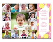 """First Birthday Invitation - """"Pink Lemonade"""" - a printable photo card of your baby's first year. (No. 21019)"""
