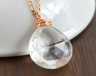 Crystal and Rose Gold Necklace, Natural Rock Crystal, Pink Gold, April Birthstone, Classic Simple Gemstone Necklace, Blush and White
