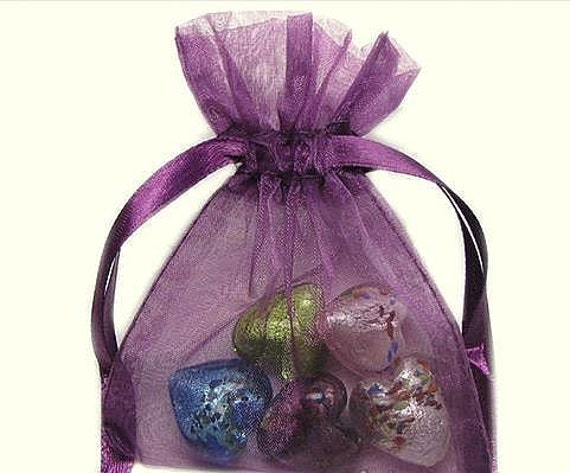 5 Count 4x6 Inch Amethyst Plum Purple Silk Organza Wedding Favor Bags