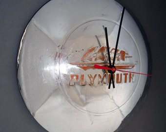 1946 1947 1948 Plymouth Hubcap Wall Clock - Time Sails Away