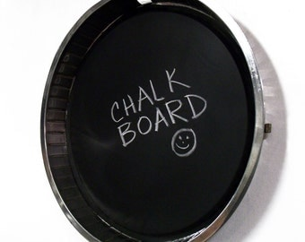 Industrial Chalkboard made from a Recycled Wheel Trim Ring - Automotive Blackboard - Mens Office Decor - Framed Chalk Board