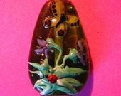 Violets, Ladybug, & Butterfly--Lampwork focal bead--Signed