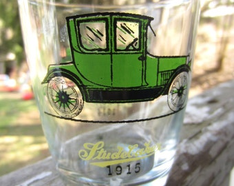Vintage Green Studebaker Maxwell Hazel Atlas Glasses Barware Antique Automobile Old Fashioned Car
