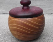 Wooden Box with Lid - Hand Turned Lidded Wood Box - Chinese Elm and Purpleheart Woods Wooden Box with Lid - Great gift idea