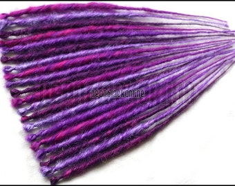 Single ended dread extensions - Pink and purple dreads - set of 20 - Made to order