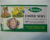 Vintage Dennison Easter Seals Stickers - NEW OLD STOCK - Scrapbook Paper Chick Egg Bunny