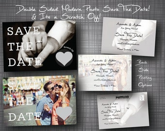 Custom Photo Scratch Off Wedding Save The Date Card Invitation Double sided Professional Qty-100