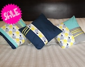 SALE blue & yellow - set of three pillow covers - small