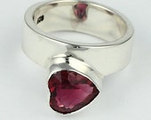 Say I Love You with Heart-shaped Pink Tourmaline Sterling Silver Solitaire Ring