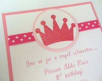 Princess Crown Invitations, Princess Birthday, Princess Baby Shower, Prince Baby Shower - Set of 8