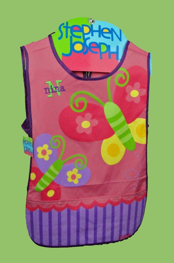 Personalized Stephen Joseph -Craft Apron BUTTERFLY Themed-Art Smock-Monogramming Included