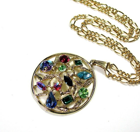 Vintage 1960s Crystal Pendant Necklace, Colorful, Womens Accessories, Gifts for Mom, Multicolored, Vintage Jewelry, Retro, Costume Jewelry