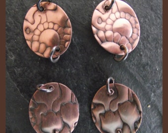 A pair of solid copper connectors -  embossed flower design - handmade - oxidised