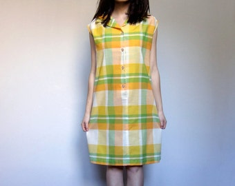 70s Yellow Plaid Dress Collared Shift Button up Cotton Sleeveless Summer House Dress - Extra Large XL