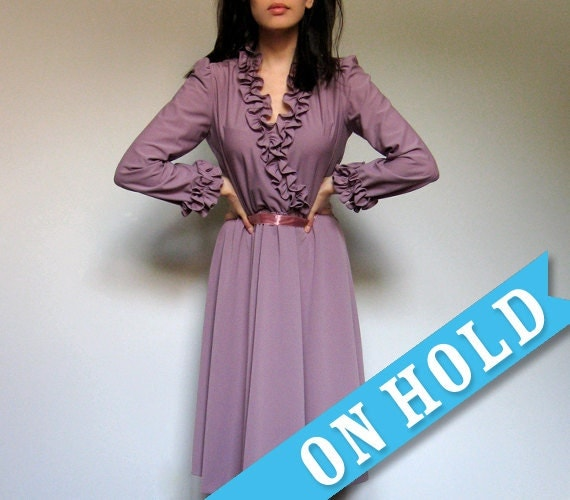 Vintage Mauve Dress Ruffle Collar Party Dress Long Sleeve Fall Fashion - Medium M